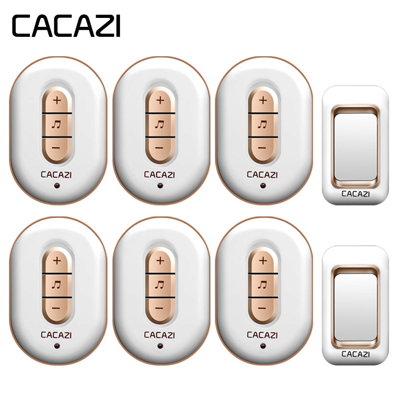 CACAZI Wireless Doorbell Waterproof 280M Remote 2 Battery Button + 6 Receivers 6 Volume 48 Chime Home Cordless Bell US EU Plug cacazi wireless doorbell waterproof 350m remote 3 battery button 3 receivers 48 chime 6 volume eu plug home cordless bell