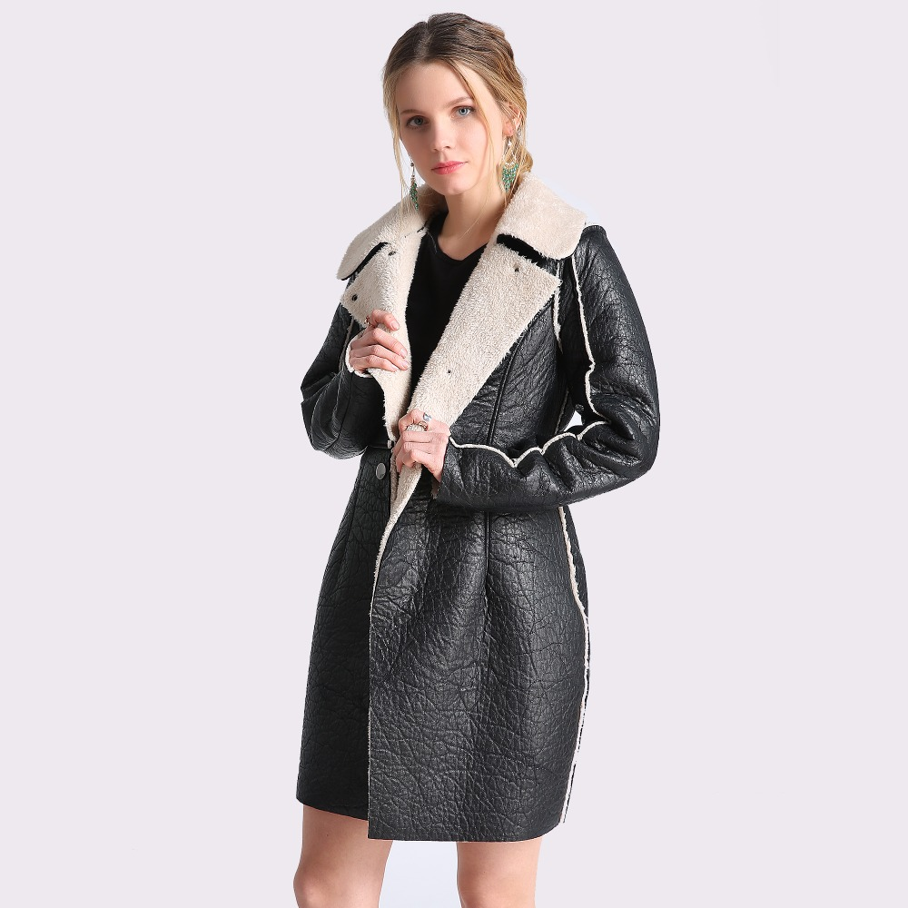 Womens Autumn Winter Long Leather Jackets 2018 Long Sleeve Black Artificial Leather Lamb Wool Warm Coat 4XL Female Talever ...