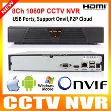 8 canales HDMI Full CCTV NVR 8CH 1080 P H.264 red grabador de vídeo NVR apoyo CMS ONVIF sistema para cámara IP opinión de teléfono móvil