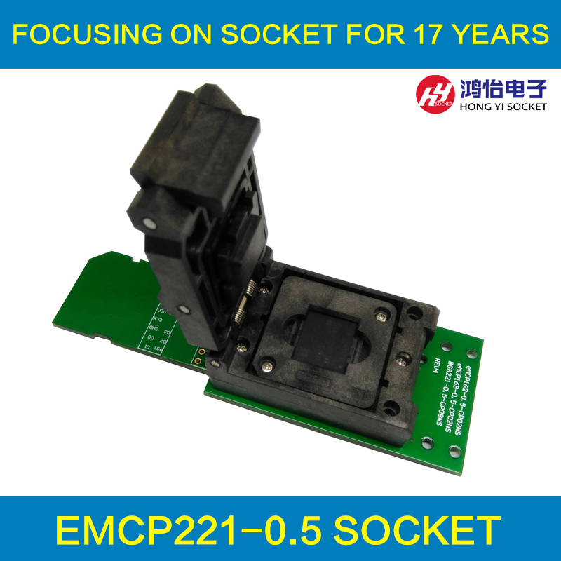 eMCP socket with SD interface, for BGA 221 testing, size 11.5x13mm, nand flash programmer, Clamshell structure  emcp socket with sd interface for bga 221 testing size 11 5x13mm nand flash programmer clamshell structure