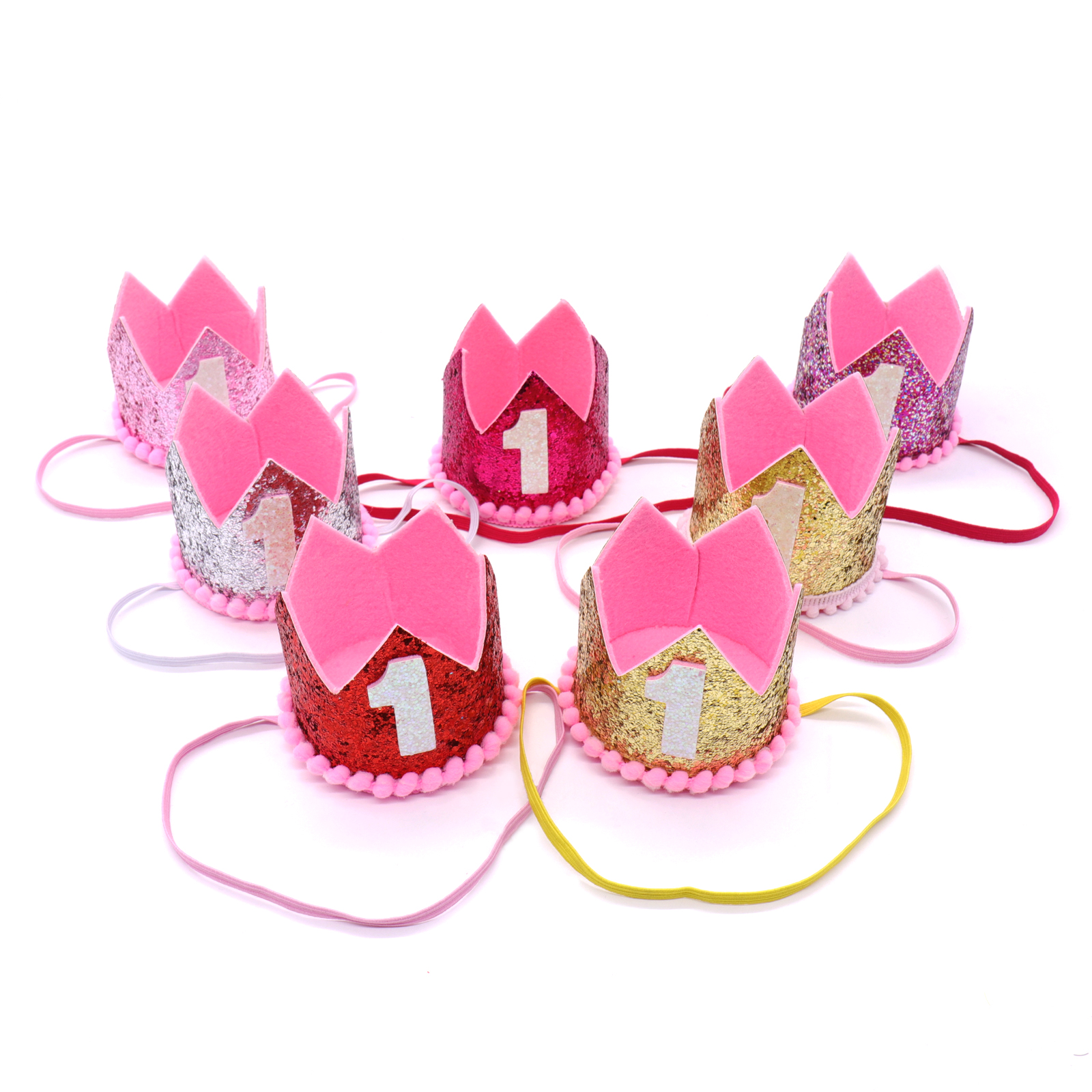 Baby Girl Boy Kids One Birthday Hat Princess Crown Birthday Party Crown Hat Hairband Baby Shower Party Photo Props Supplies