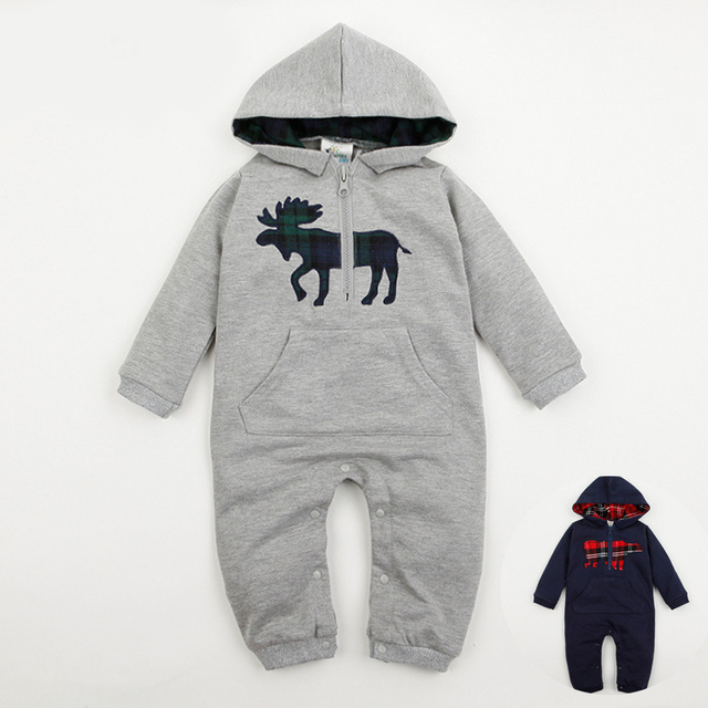 Bear or Dear 6-24 Months Long Sleeved Baby Hooded Jumpsuit