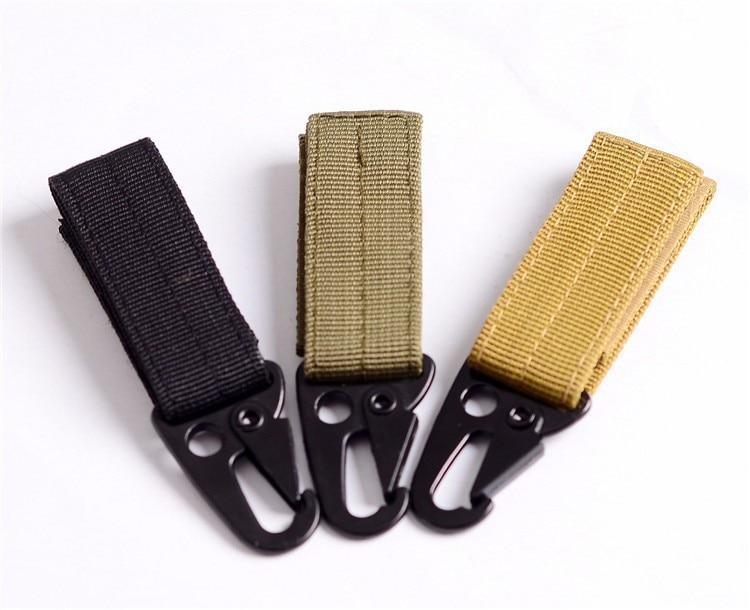 Camping Tactical Molle Belt Carabiner Camp Bag Hooks Strap Clip Keychain