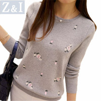 Z I Women Sweater Floral Embroidery Winter Spring Warm Knitted Sweater Pullovers