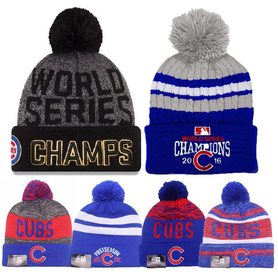 2016 World Series Champions Chicago Cubs Knit Cap Beanie Chapeau Or Rallye  Vente Chaude Unisexe Bonnets dans Costumes pour hommes de Nouveauté   Usage  ... 8bd43a12184