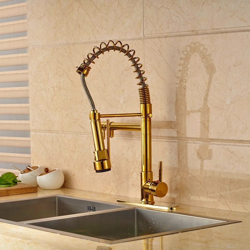 Luxury Gold Polished Pull Out Spring Kitchen Sink Tap Swivel Spout Mixer Tap 8 Plate newly arrived pull out kitchen faucet gold sink mixer tap 360 degree rotation torneira cozinha mixer taps kitchen tap
