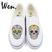 Wen Original White Black Slip On Shoes Design Custom Mexican Skulls Floral Totem Mens Womens Canvas