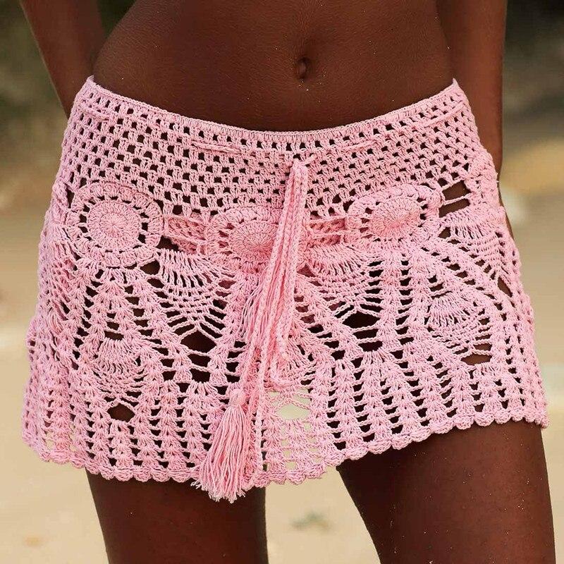 8 Color Hand Crochet Florens Skirt Women Sexy Beach Cover Up Skirt Boho Style Elastic Waistband