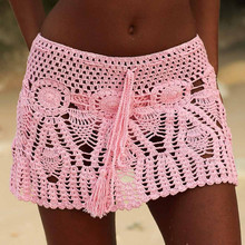 8 Color Hand Crochet Florens Skirt Women Sexy Beach cover up Boho Style elastic waistband
