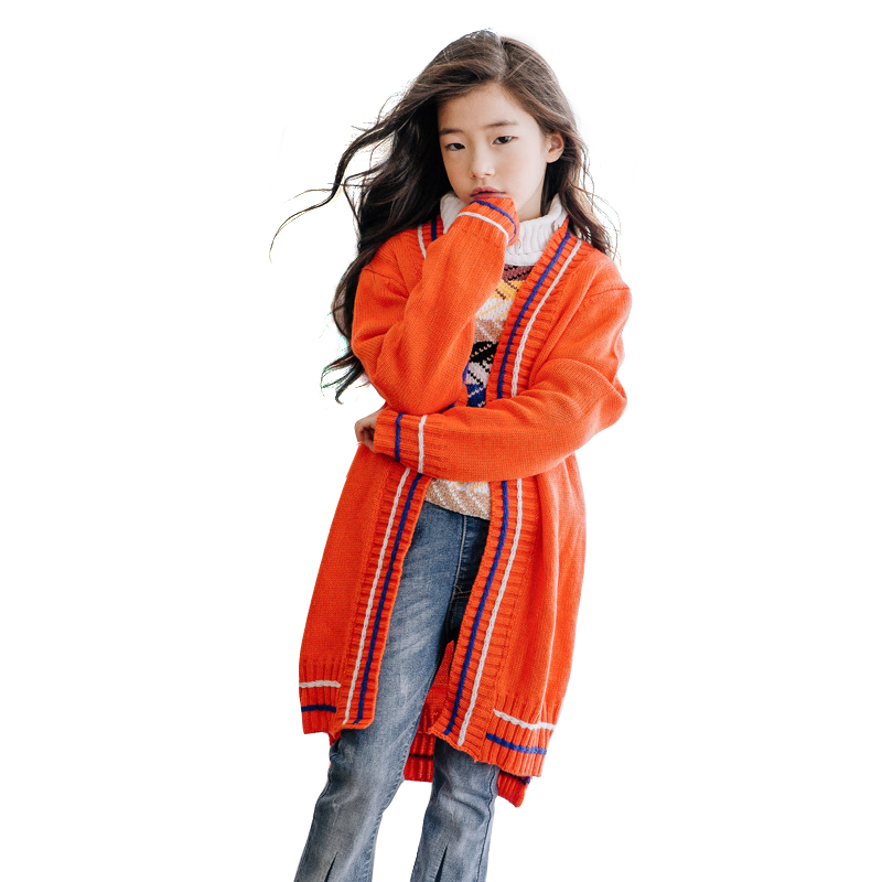 teenage winter long cardigan age for 4-14 simple thick warm kids sweaters 2018 new autumn big girls knitted tops fashion sweater 2018 winter autumn girls sweater dress kids tiny cottons knitted sweaters girls cherry dot cute cardigan tops clothes 4 14 years