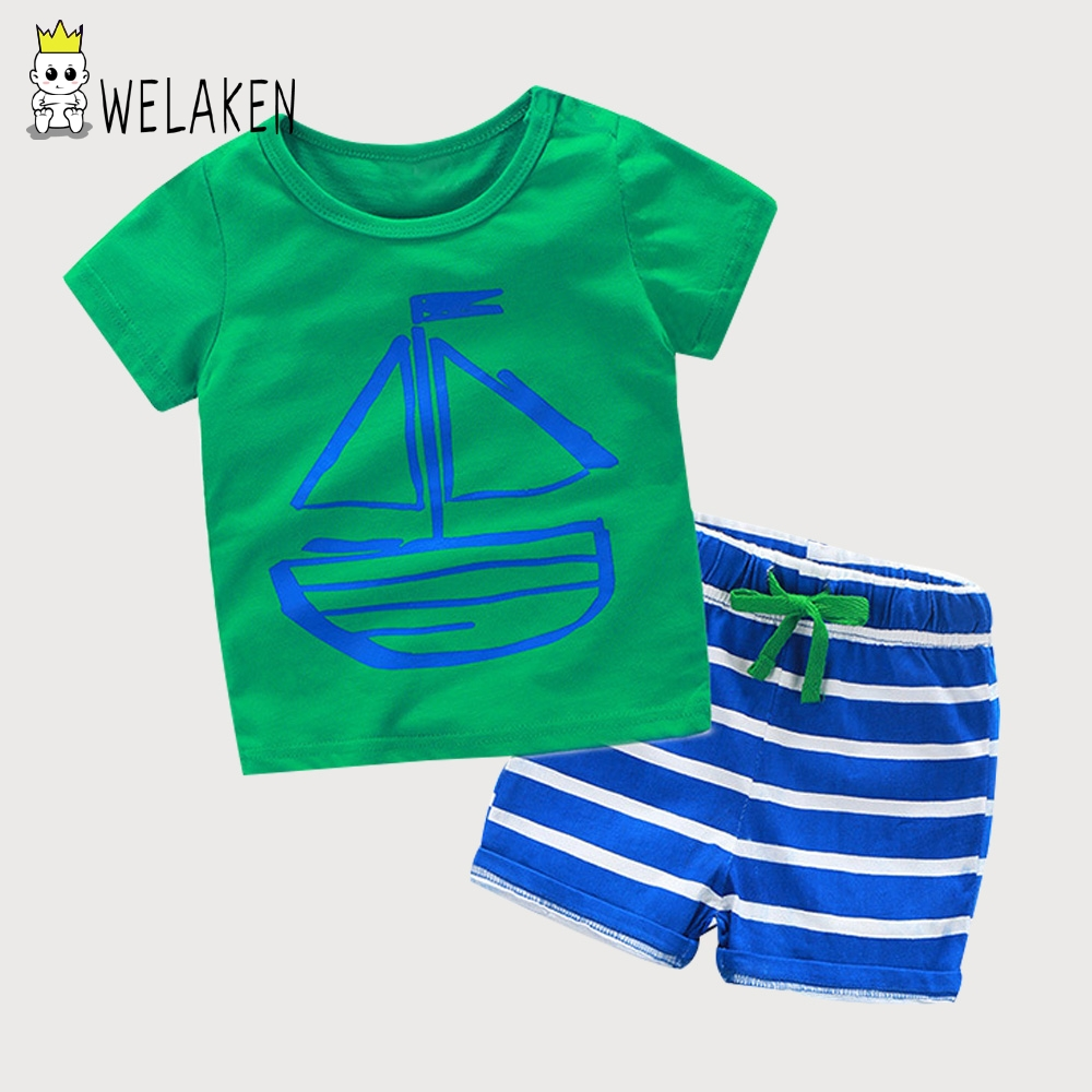 weLaken Boys Clothing Sets 2018 Summer Casual Cute Pattern Short Sleeve T Shirts + Striped Shorts 2pcs Set For Baby Boys Clothes