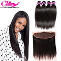 Peruvian Hair With Frontal Closure Straight Hair With Frontal Human Hair 3 Bundles 13x4 Ear To Ear Lace Frontal Weave Free Part