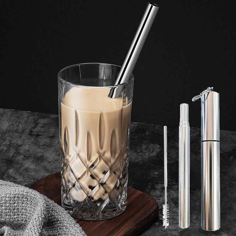 New Foldable Straw Stainless Steel Straw Reusable Collapsible Straw Metal  Outdoor Household Drinking Tool Wholesale  brush @15