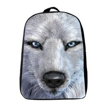 2017 Hot 12 Inches Oxford Printing Animal Wolf Kindergarten Backpack,Infantile Schoolbag,Small Bookbag,Kids Baby School Bags(China)