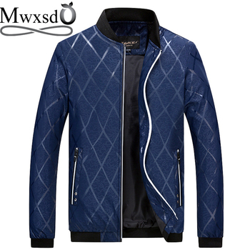 Mwxsd marca otoño hombre diamante plaid impreso chaqueta y abrigo hombres Casual primavera béisbol Chaqueta Hombre bombardero chaqueta