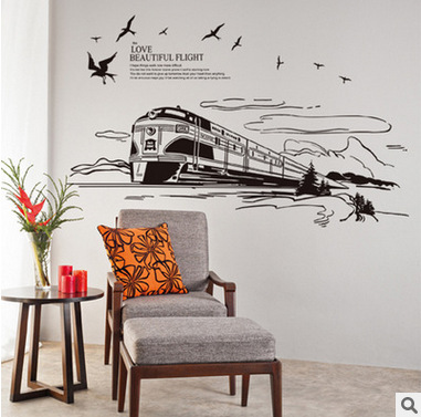 The Scenery out of the train Wall Art Mural Decor Sticker Flying Birds Clouds Train Railway Track Trees Road Wallpaper Applique