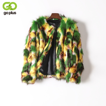 GOPLUS 2017 Women Winter Faux Fur Coat Fashion Fake Fox Fur Jacket Warm Mixed Colors Luxurious Fur Coats Casaco De Pele Falso