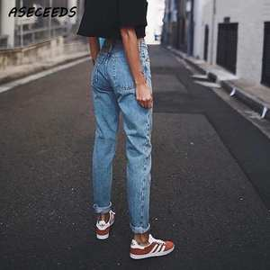 Boyfriend Jeans Pencil-Trousers Denim Pants Streetwear Blue Vintage Casual Korean Women