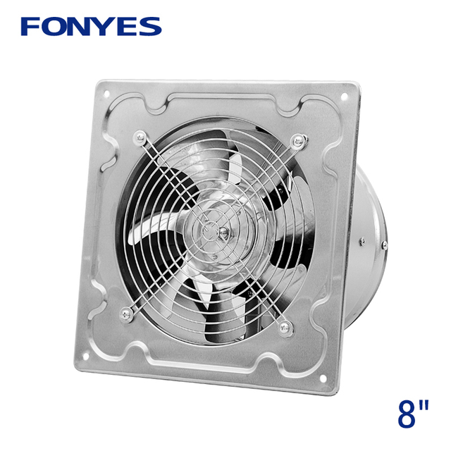 8 Inch Stainless Steel Panel Fan Ventilation Metal Wall Mounting Exhaust Kitchen Window