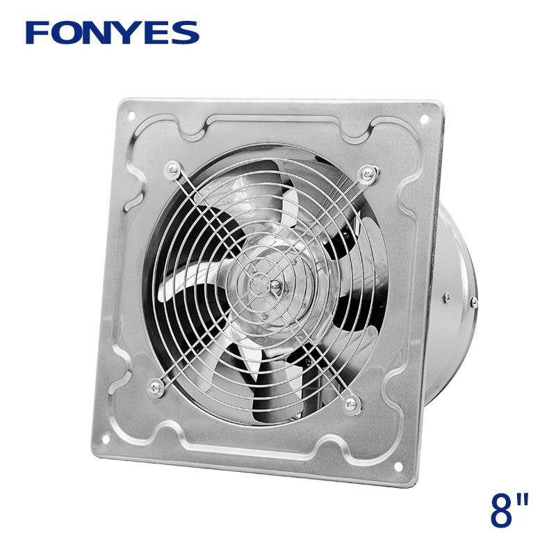 8 pouces en acier inoxydable panneau ventilateur industriel ventilation ventilateur métal mur extracteur ventilateur d'échappement cuisine fenêtre extracteur 200mm 220 V