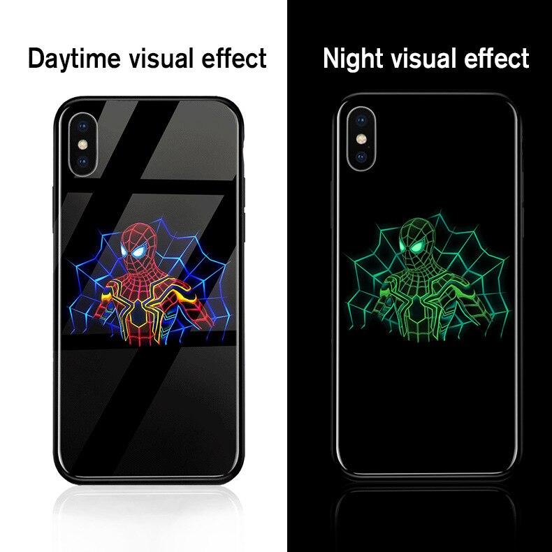 ciciber Marvel Avengers Iron Man Thor Luminous Cover Case For iPhone 6 6S plus 7 7plus 8 8plus X 10 Tempered Glass Fundas Capa