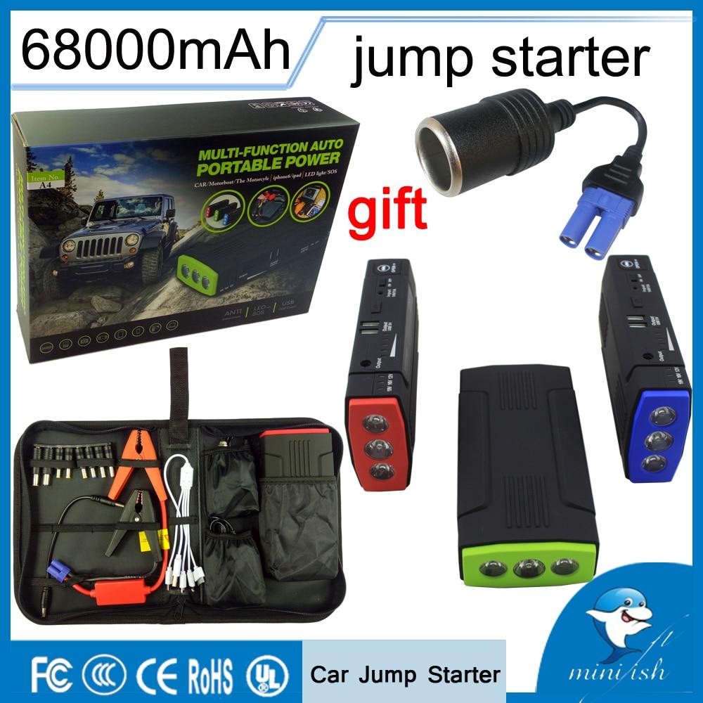 Продвижение Multi-function мини портативный аварийного батарея зарядное устройство автомобиля пусковые устройства 68000 мАч Booster запасные аккумуля...