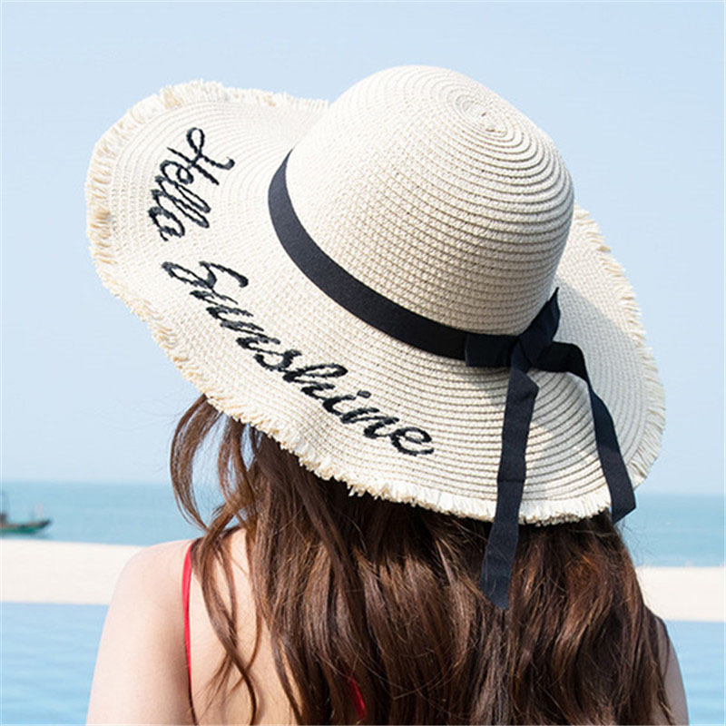 Weave Sun Hats Straw Hat Black Ribbon Tie Up Caps for Women Summer Beach Outdoor  EDF88