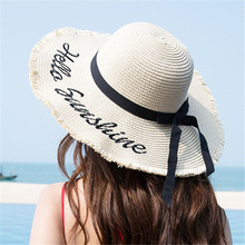 Weave Sun Hats Straw Hat Black Ribbon Tie Up Caps for Women Summer Beach Outdoor  EDF88 chic black ribbon embellished summer straw hat for women