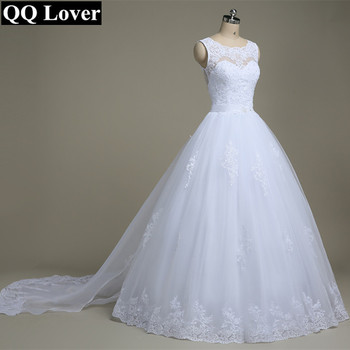 QQ Lover 2019 A-Line See Through Back Sexy Lace Wedding Dresses With Train Bridal Gown Vestido De Noiva
