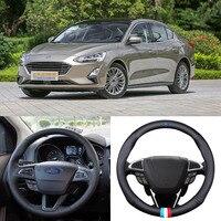 For FORD Focus Universal Car Steering Wheel Cover Matt Carbon Fiber Leather Sports