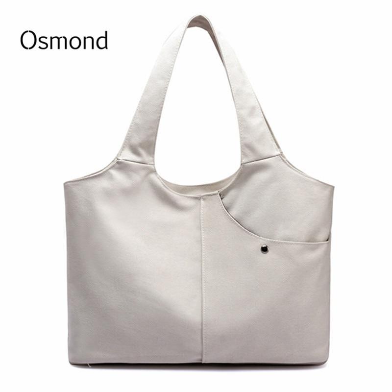 Women's White Solid Handbags Large Hand Bag Vintage Hobos Canvas Shoulder Bag Ladies Totes Bolsas