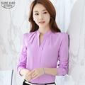 2016 новое прибытие женщины блузка сплошной цвет кружева ПР воротник рубашки дамы топы тонкий мода лето одежда 861B 25