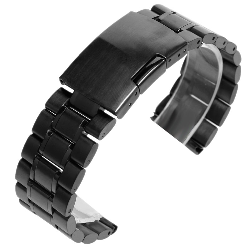 Solid Stainless Steel Silver/Black/Gold 18mm 20mm 22mm Watchbands Strap Replacement Fold Over Clasp Wrist Bracelet Mens Womens