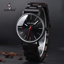 BOBO BIRD Ultra Thin Stainless Steel Watches for Men Black Quartz Wooden