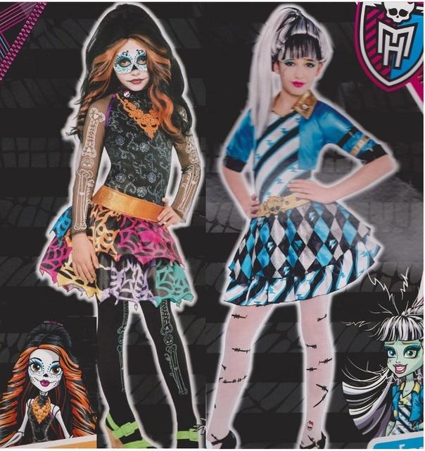 Freies Verschiffen Cosplay Party Monster High Frankie Stein Kleid Kostum Perucke Strumpf Maske