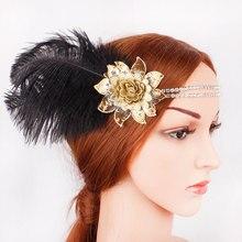 Haar Accessoires Zwarte Strass Kralen Sequin Haarband 1920 s Vintage Gatsby Party Hoofddeksel Vrouwen Flapper Feather Hoofdband