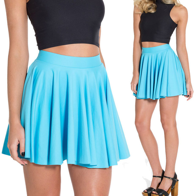 d39048d94 Sexy Matte Light Blue Skater Skirt Fashion Mini Short Skirt Pleated Skater  Skirts Saias Femininas