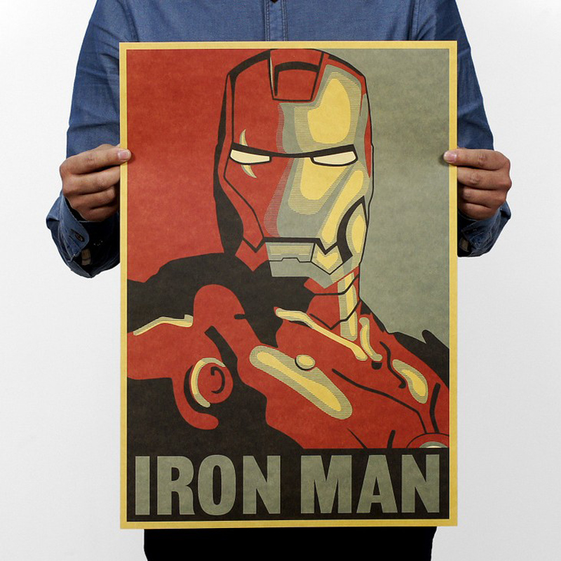 Free shipping,Iron Man/classic Cartoon /kraft paper/bar poster/Retro Poster/decorative painting 51x35.5cm