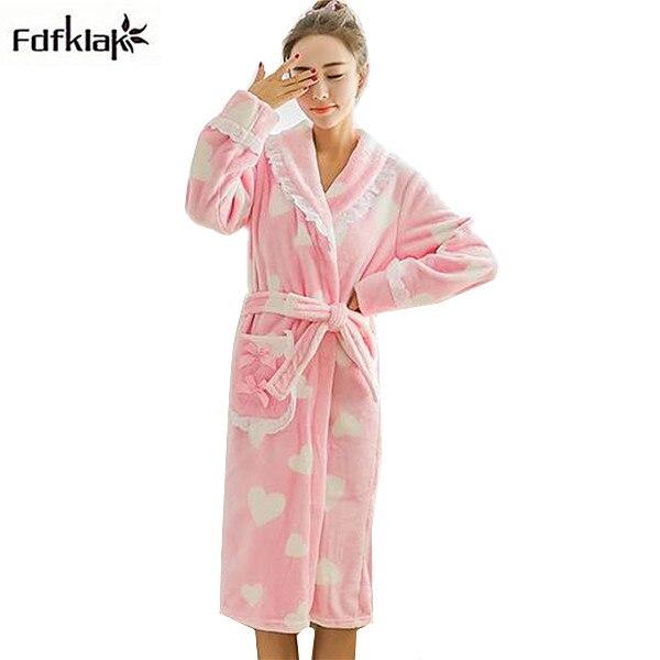 Kimono dress new cute cartoon flannel winter robe women long sleeve ...