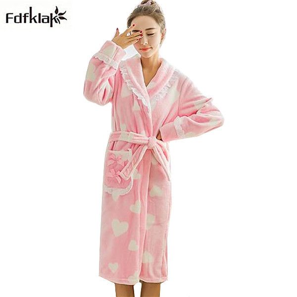 6cc4bc07ee Kimono dress new cute cartoon flannel winter robe women long sleeve  thickening fleece robes female bathrobes dressing gowns