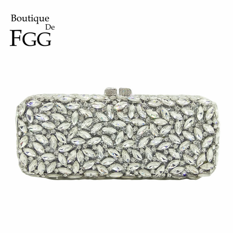 все цены на Boutique De FGG Women Silver Crystal Clutch Evening Bags Metal Hollow Box Minaudiere Handbag Bridal Purse Wedding Party Clutches онлайн