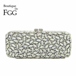 Boutique De FGG Women Silver Crystal Clutch Evening Bags Metal Hollow Box Minaudiere Handbag Bridal Purse Wedding Party Clutches
