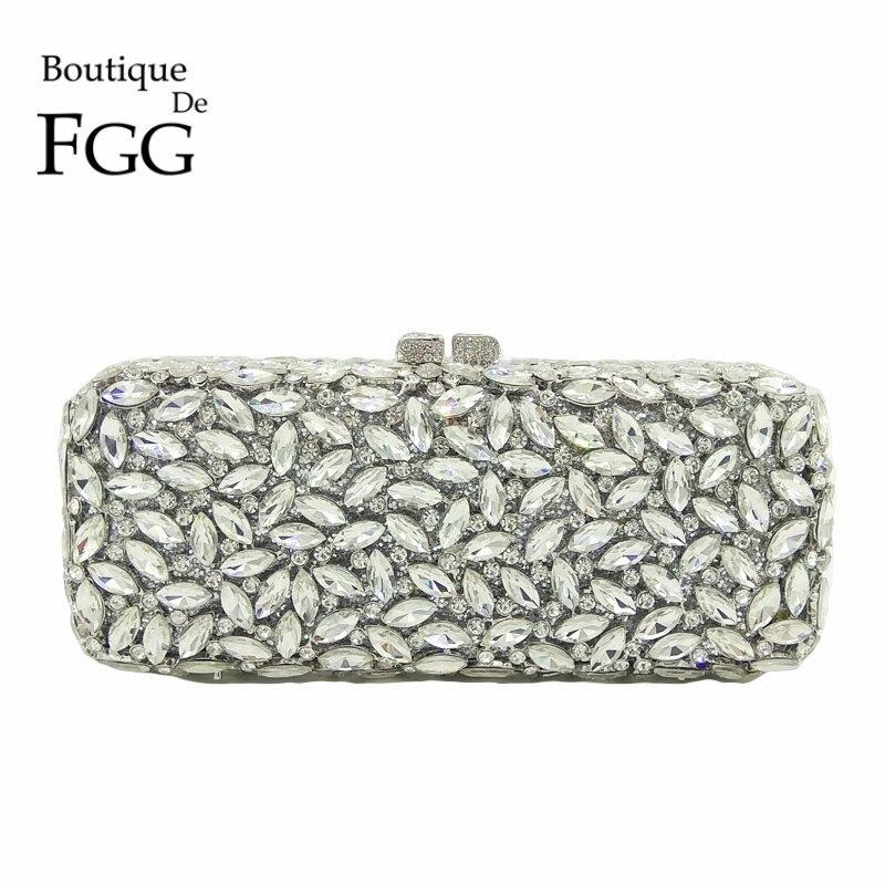 Boutique De FGG Women Silver Crystal Clutch Evening Bags Metal Hollow Box Minaudiere Handbag Bridal Purse Wedding Party Clutches