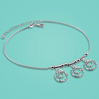 Free shipping 925 sterling silver anklets for lady Concise style flower pendant 28cm chain Solid silver body jewelry best gift