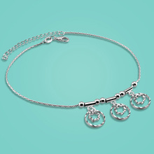 Free shipping 925 sterling silver anklets for lady Concise style flower pendant 28cm chain Solid silver