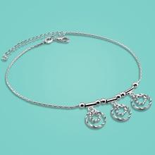 Envío libre 925 pulseras de plata de ley para la señora Conciso estilo de la flor colgante 28 cm cadena Solid body jewelry mejor regalo