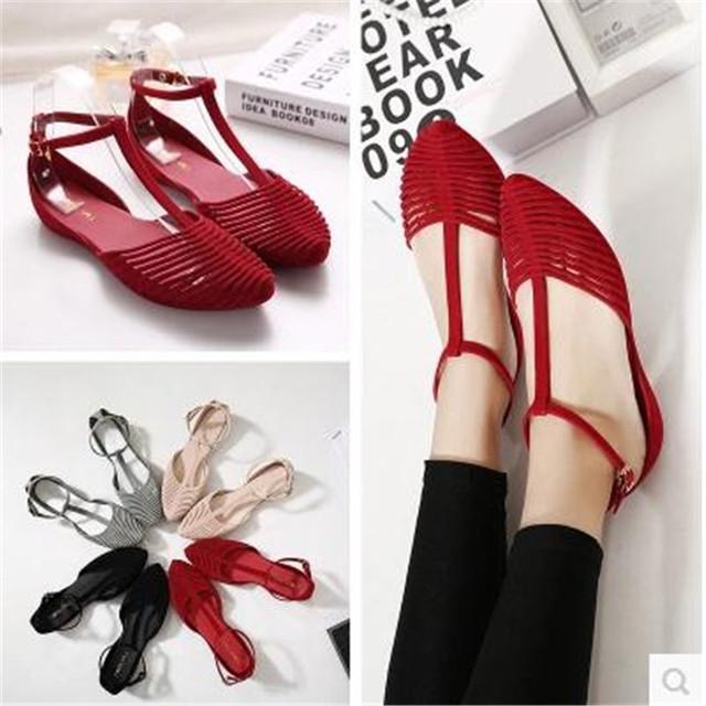 Moda verão dedo apontado sandálias flat entalhe fêmea do vintage das mulheres plus size sapatos sapatos sandálias da geléia