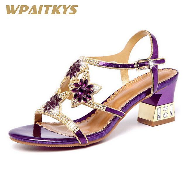 Rhinestone High-heeled Shoes Woman Fashion Elegant High-End Purple Golden Blue Crystal Leather Women's Shoes Wedding Banquet