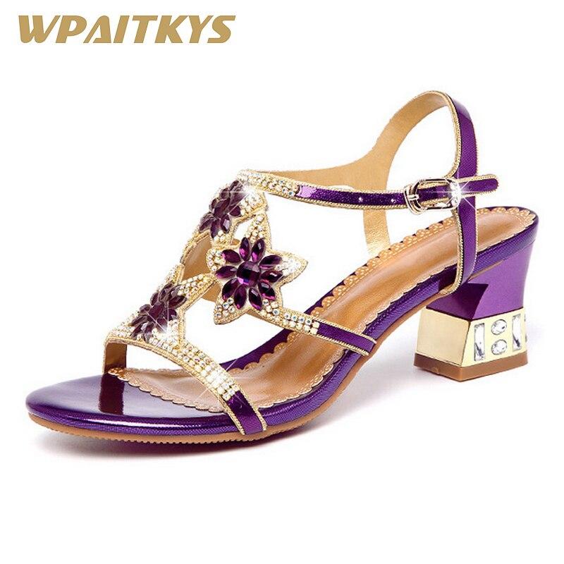 Strass chaussures à talons hauts femme mode élégant haut de gamme violet doré bleu cristal cuir chaussures pour femmes Banquet de mariage