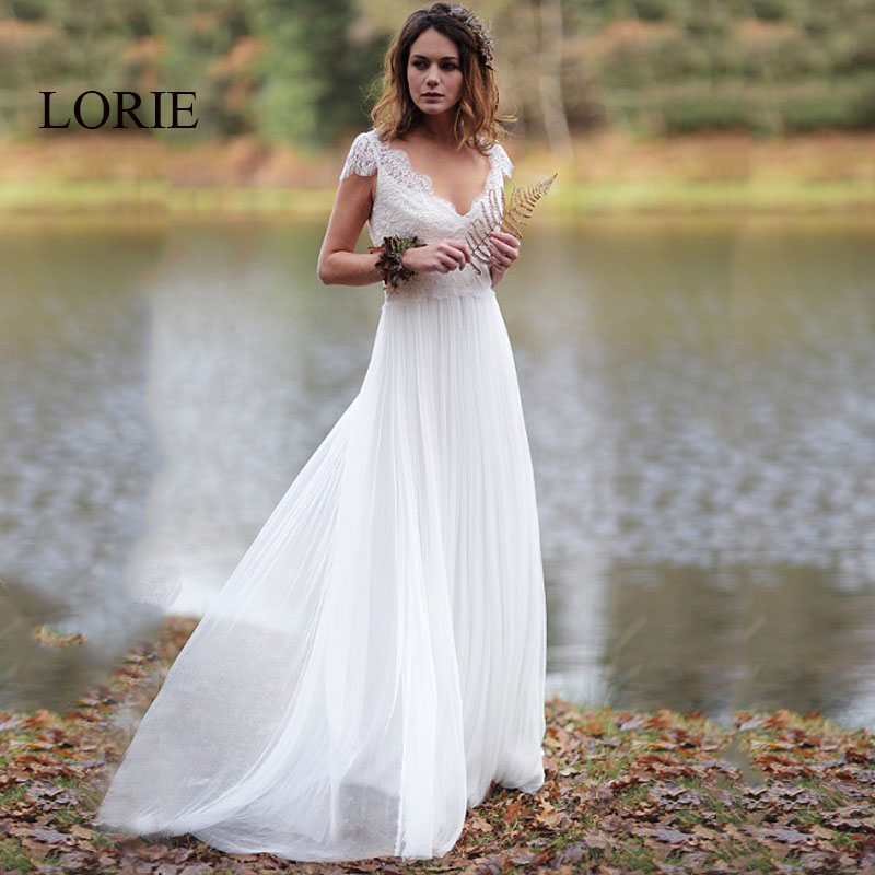 LORIE Beach Wedding Dress 2019 V Neck Appliqued wih Lace Princess Cheap Bride Dress Tulle A-Line Wedding Gown Free Shipping